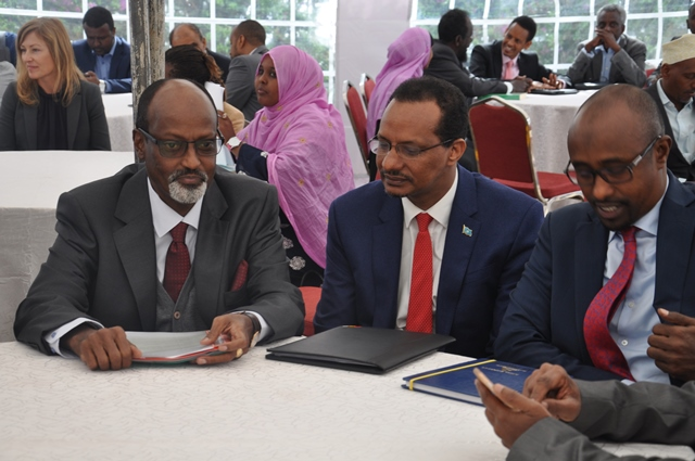 Supreme Court judge Ibrahim Mohammed with Somalia Judges and officials from UNODC during the opening ceremony of the Mock Trial for the Somalia Judiciary held at Supreme Court of Kenya on March 5, 2018.