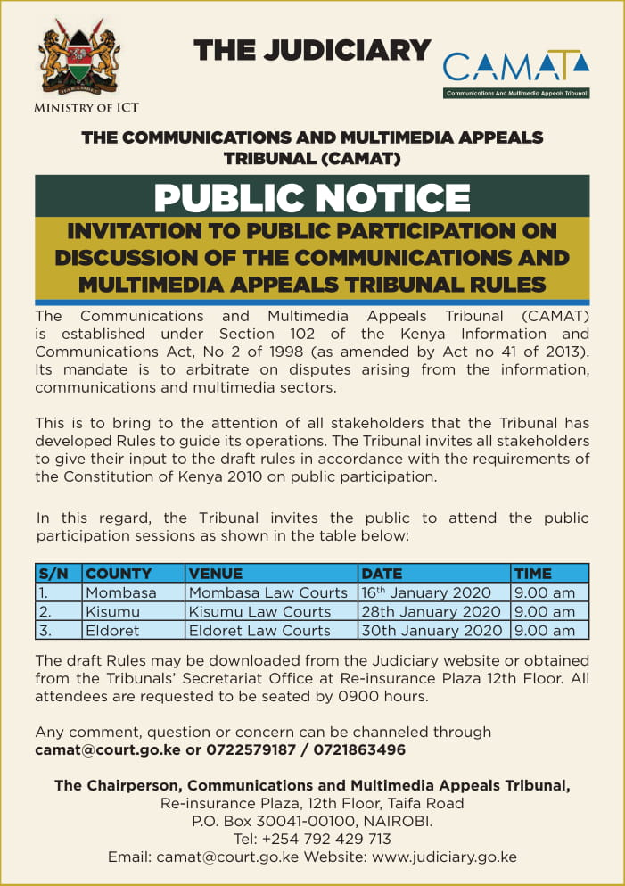 Invitation to public in participation to discuss Communication & Multimedia Tribunal rules