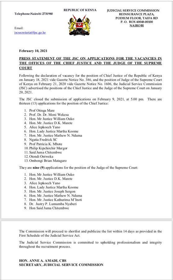 JSC statement on applications for vacancies in the offices of the CJ & Judge of Supreme Court.