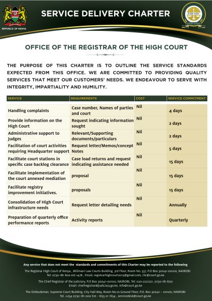 Office of the Registrar High Court Service Delivery Charter