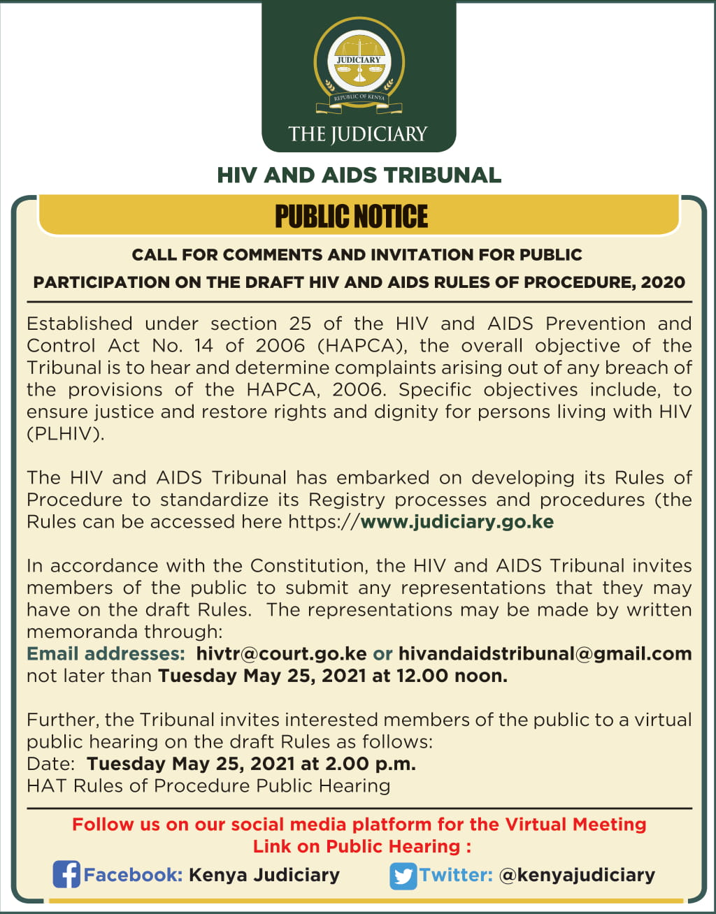 NOTICE: Call for Comments & Invitation for Public Participation on the Draft HIV and AIDS Rules of Procedure, 2020